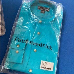Paul Frederick Teal Linen Dress Shirt M NWT